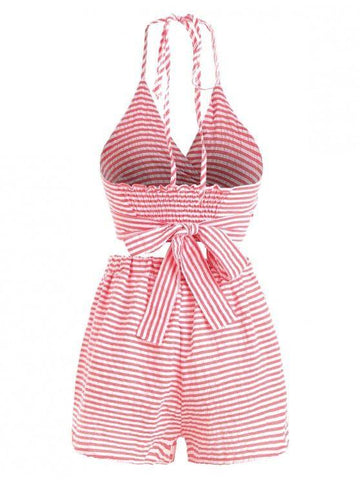 Criss Cross Stripes Top And Shorts Set