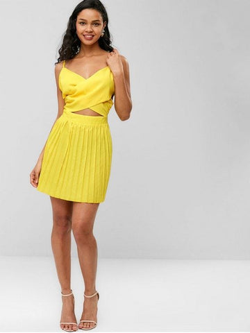 Criss Cross Pleated Panel Cami Dress