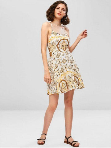 Criss Cross Printed A Line Cami Dress