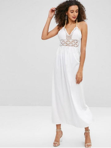 Crochet Bodice Halter Maxi Beach Dress