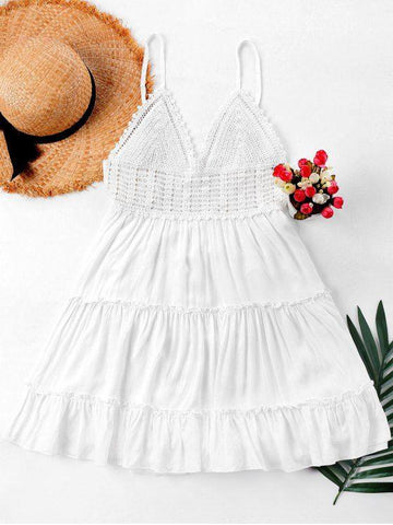 Crochet Panel Cami Flare Dress