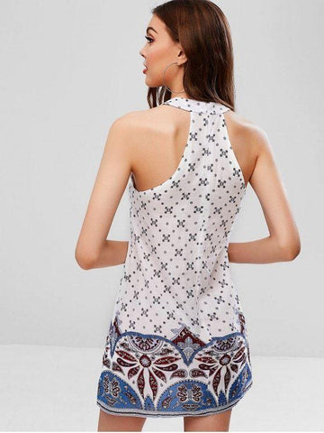 Crochet Panel Printed Sleeveless Dress  White