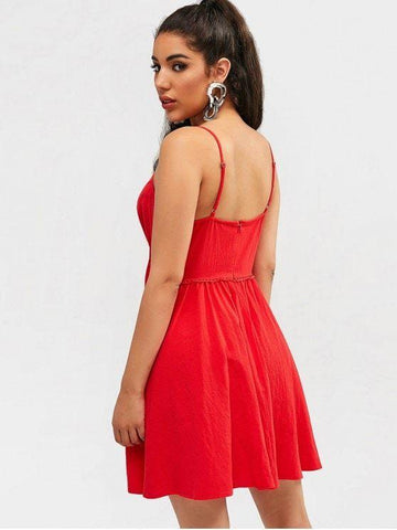 Crochet Trim Cami Dress  Red