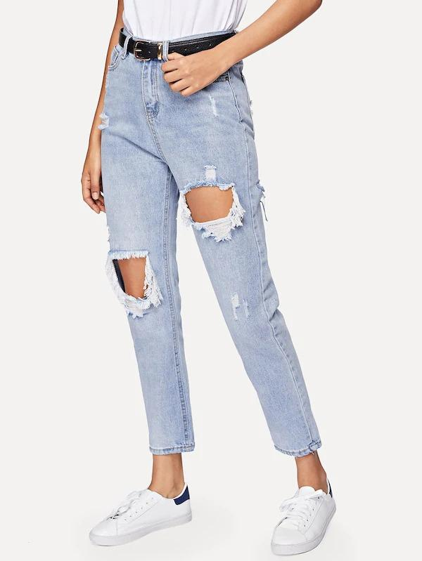 Cut Out Ripped Jeans