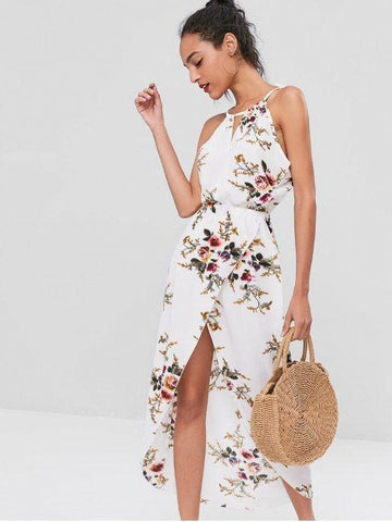 Cut Out Floral Overlap Dress White M