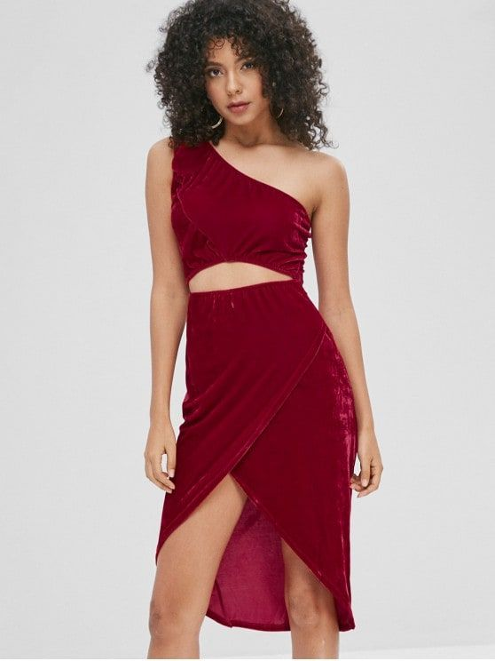 Cut Out Velvet One Shoulder Dress