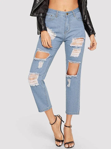 Cutout Ripped Jeans