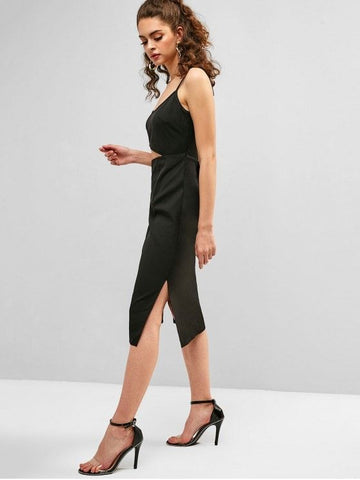 Cutout Slit Sheath Dress