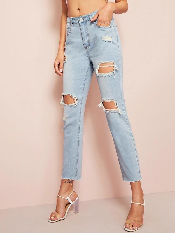 Destroyed Ripped Raw Hem Jeans