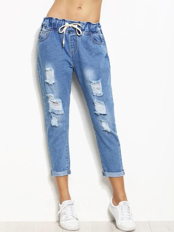 Distressed Rolled Hem Drawstring Jeans