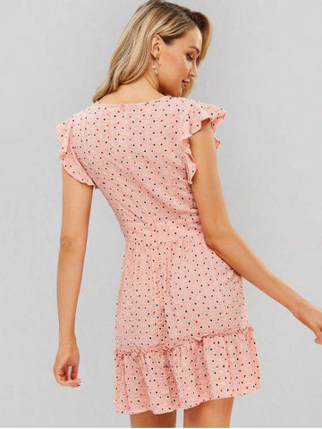 Dotted Ruffles Surplice Mini Dress Pink