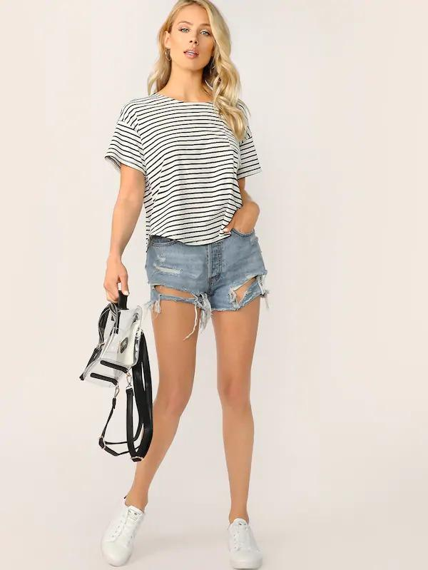 Drop Shoulder Curved Hem Striped Tee
