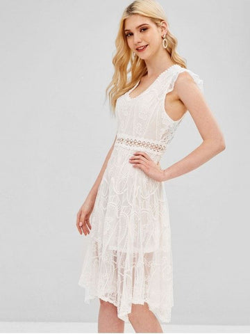 Embroidered Open Back Dress