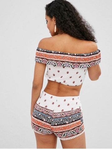 Ethnic Off Shoulder Flounce Shorts Set