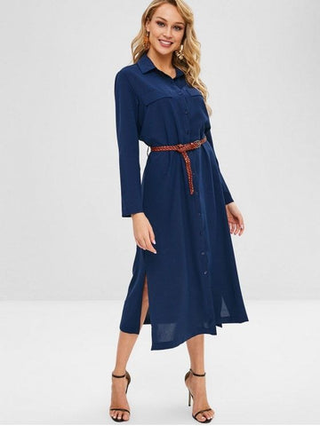 Faux Pockets Slits Belted Maxi Dress