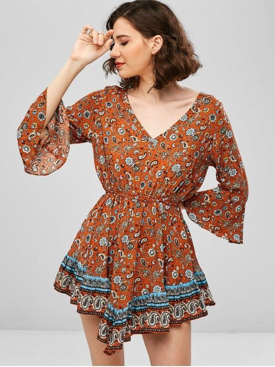 Flare Sleeve Paisley Flounce Backless Dress
