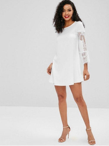 Flare Sleeves Lace Panel Mini Dress  White