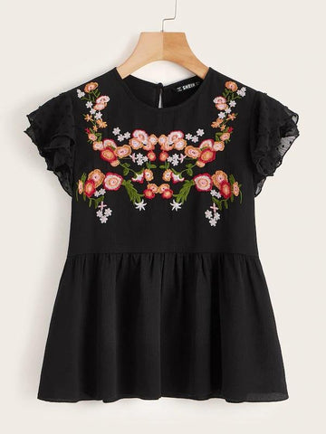 Floral Embroidered Ruffle Armhole Top