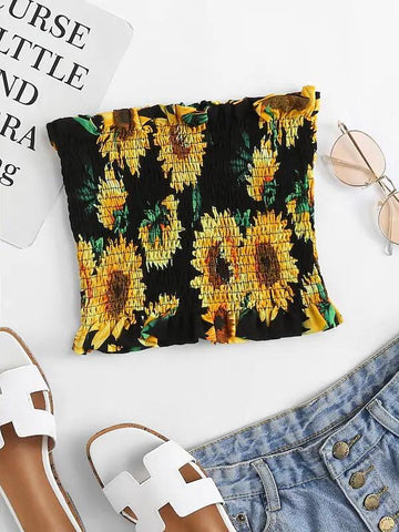 Floral Print Pleated Tube Top