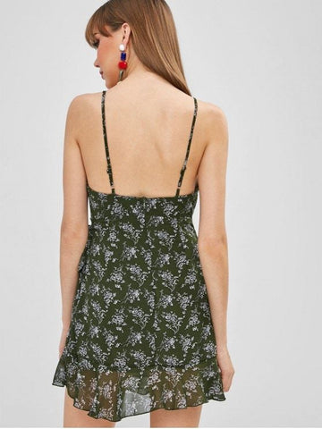Floral Belted Flounce Cami Dress