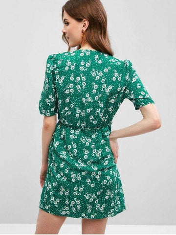 Floral Button Up Wrap A Line Dres