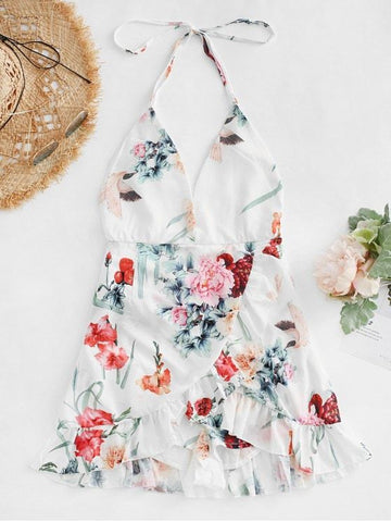Floral Criss Cross Backless Flounce Dress