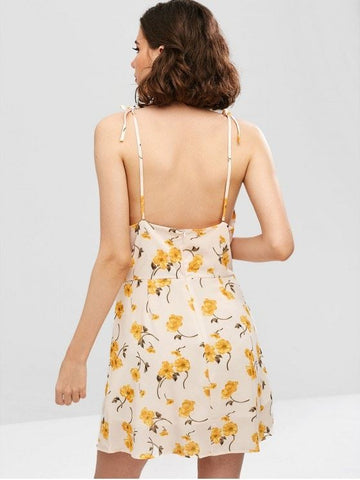 Floral Cut Out Self Tie Dress