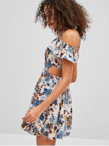 Floral Cut Out Waist Skater Dress Multi M