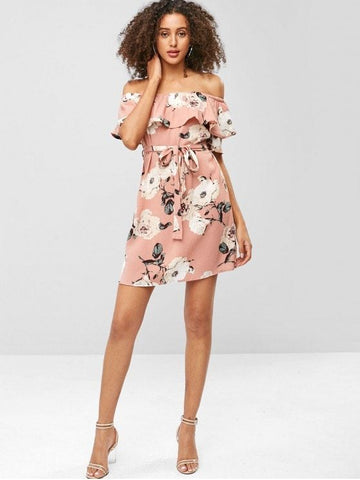 Floral Flounce Belted Mini Dress