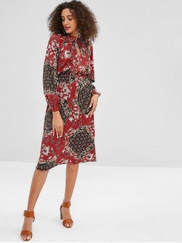Floral Pleated Smocked Ruffle Neck Dress