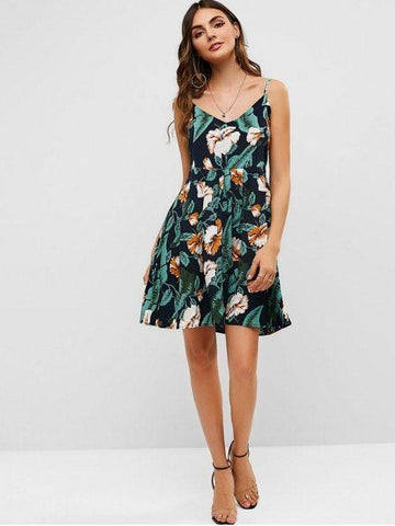 Floral Print A Line Cami Dress Multi M