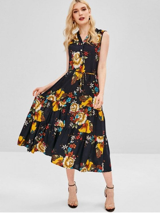 Floral Print Belted Sleeveless Dress