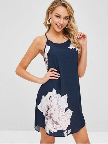 Floral Print Spaghetti Strap Mini Dress