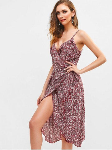 Floral Ruffles Wrap Cami Dress  Red Wine L