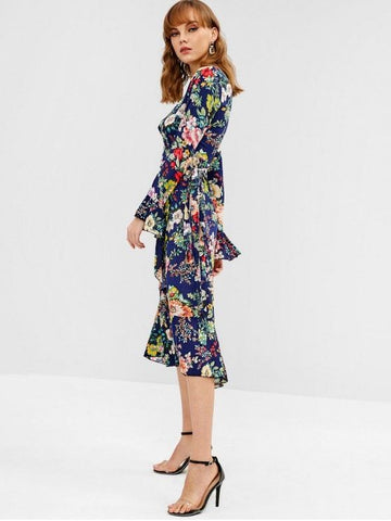 Floral Wrap Tie Up Ruffle Midi Dress
