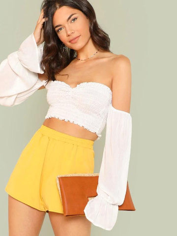 Flounce Sleeve Shirred Bardot Crop Top