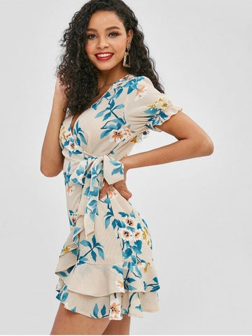Flower Flounce Surplice Dress