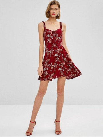 Flower Ruffle Smocked Dress - Red Wine