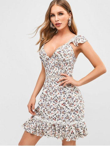 Flower Tie Back Flounce Dress
