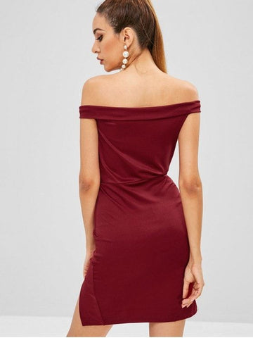 Foldover Bodycon Mini Party Dress