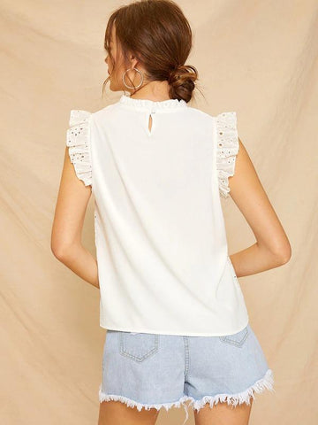Frill Neck Schiffy Blouse