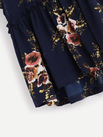 Frill Trim Floral Smock Blouse