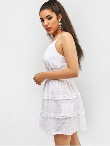 Frilled Shirred Surplice Sundress White