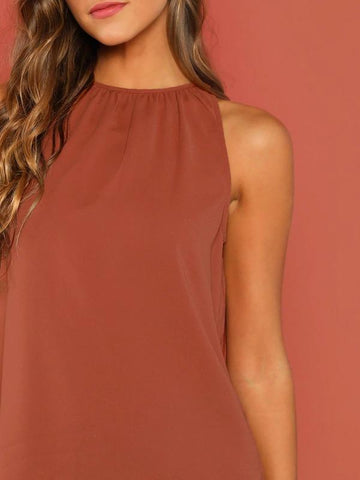 Gathered Halter Neck Top