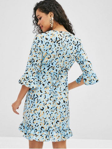 Graphic Flare Sleeve Wrap Dress