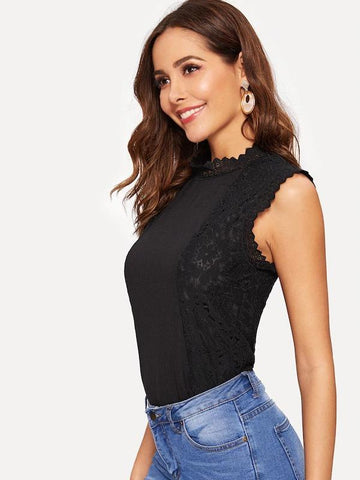 Guipure Lace Zip Back Top