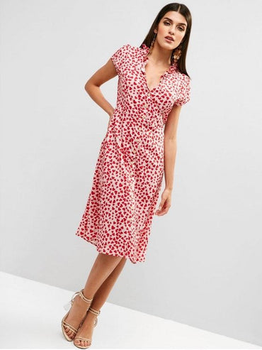 Heart Button Up A Line Valentine Dress