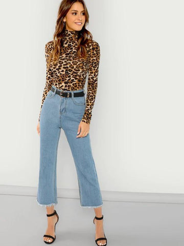 High Neck Leopard Print Fitted Top