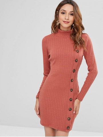 High Neck Buttoned Short Knit Dress