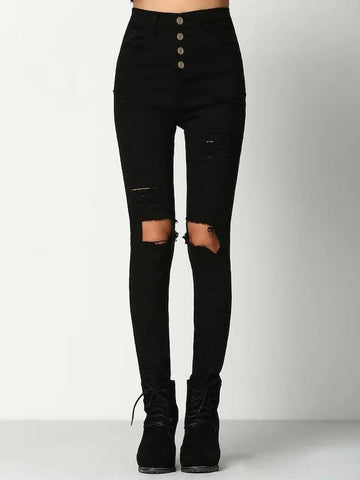 Knee Rips Button Fly Skinny Jeans